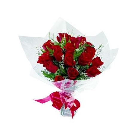 Compact posy of red roses