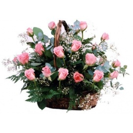 Coral Sunrise Basket of Roses
