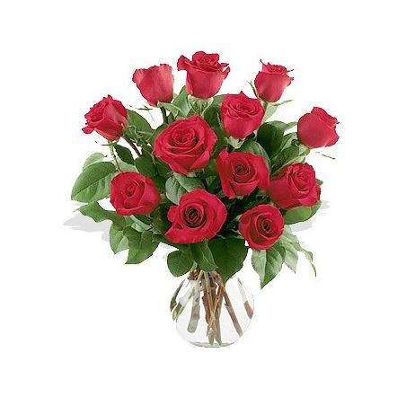 One Dozen Roses Arranged in Vase