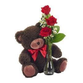 UG Bear Bud Vase Roses