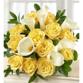 Yellow Rose and White Calla Lily